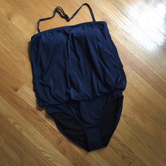 0976a5f0da Garnet Hill Swim | Blouson Onepiece Suit Navy Nwot Sz 10 | Poshmark